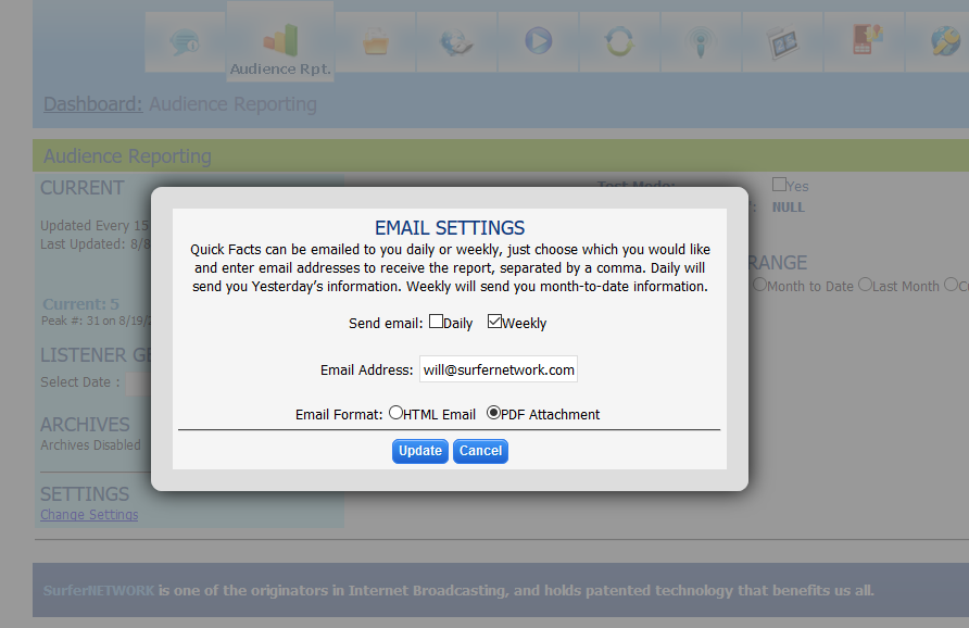 View of Email Setup in Audience Reporting